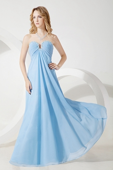 Stunning Chiffon Blue Graduation Dress for Plus Size
