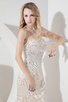 Luxurious Jeweled Champagne Cocktail Dresses