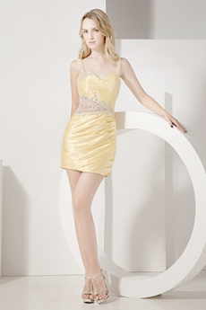 Chic Yellow Junior Cocktail Dresses With Detachable Train