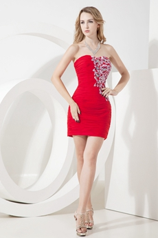 Cute Red Sweetheart Sheath Cocktail Dresses