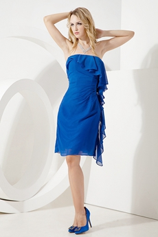 Terrific Royal Blue Chiffon Strapless Cocktail Dresses With Ruffles