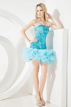 Unique Spaghetti Straps Blue Sequined Cocktail Dresses