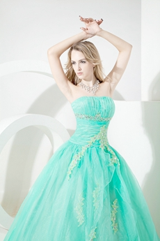 Pretty Aqua Organza Strapless Quinceanera Dresses 2016 with Appliques