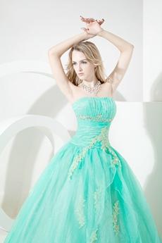 Pretty Aqua Organza Strapless Quinceanera Dresses 2016 with Appliques