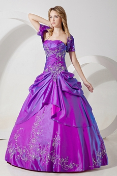 Modest Embroidery Taffeta Lavender Quinceanera Dresses With Short Bolero