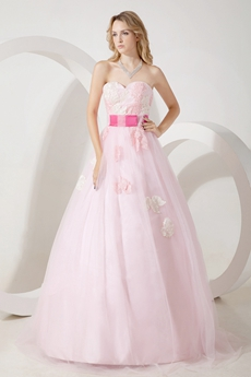 Adorable Pink Tulle Sweet 15 Dress With Fuchsia Sash