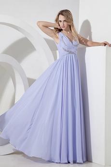 Exquisite Deep V-neckline Lavender Prom Gown 2016