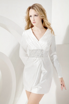 Modest Long Sleeves Little White Dress