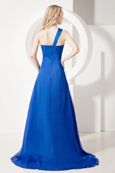 Charming Royal Blue One Shoulder 2016 Prom Dress for Plus Size