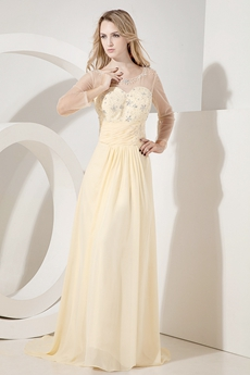 Long Sleeves Illusion Chiffon Evening Maxi Dresses