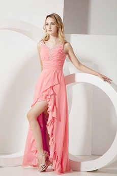 Scoop Neckline Watermelon Chiffon High Low Prom Dress