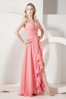 Scoop Neckline Watermelon Chiffon High Low Prom Dress