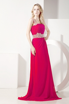 Pretty One Shoulder A-line Evening Dress