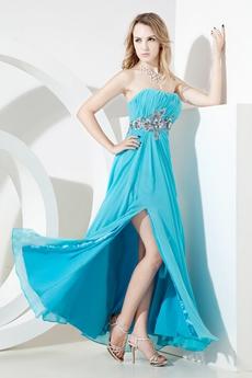Sexy Strapless Chiffon Blue Prom Dresses