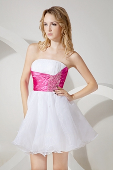 Cute White Strapless Puffy Homecoming Dress