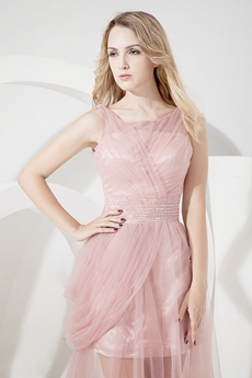 Stylish Dusty Rose Tulle A-line Prom Dresses