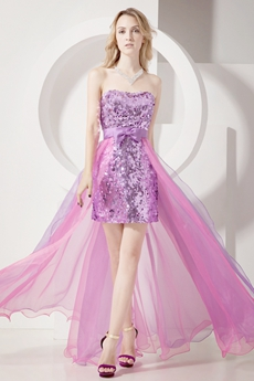 Glamorous Lilac Strapless High Low Sweet 16 Dresses