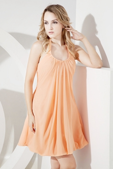 Coral Halter Chiffon Short Beach Bridesmaid Dresses