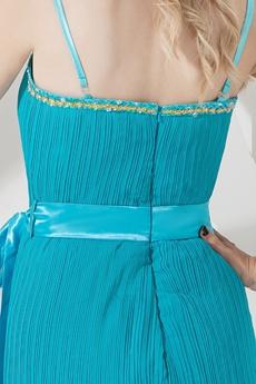 Cheap Mini Teal Chiffon Spaghetti Wedding Guest Dress