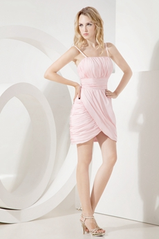 Cute Spaghetti Straps Mini Pink Wedding Guest Dresses