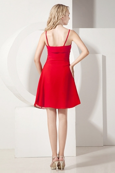 Spaghetti Straps Mini Length Red Cocktail Dress