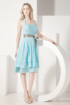 Simple Halter Knee Length Blue Homecoming Dress