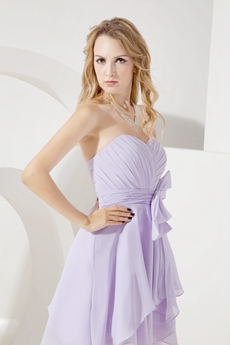 Simple Lavender Chiffon Short Bridesmaid Dresses With Bowknot