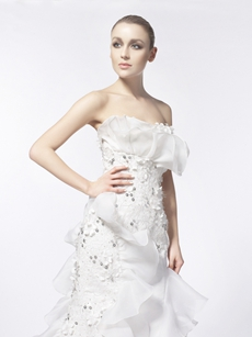 Stunning Lace And Organza Wedding Dress With Tiered Bottom
