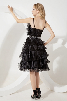 Lovely Tiered Organza Black Prom Dress