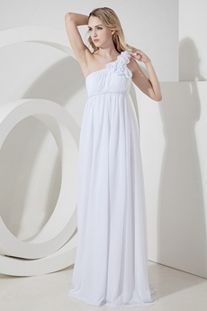 Romantic White One Shoulder Chiffon Maternity Wedding Dresses