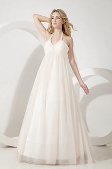 Glamour Halter Empire Wedding Dress For Pregnancy Women