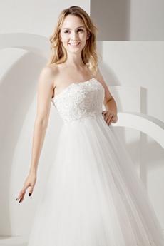 Empire White Tulle Maternity Wedding Dress