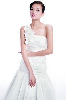Dropped Waist One Shoulder Simple Satin Wedding Dress