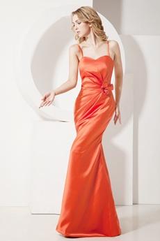 Simple Burnt Orange Spaghetti Straps Sheath Evening Dress