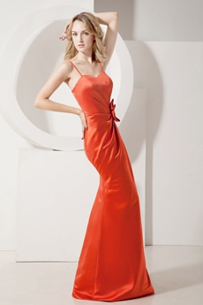 Simple Burnt Orange Spaghetti Straps Sheath Evening Dress