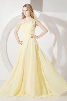 Charming Yellow One Shoulder A-line Graduation Ball Dress