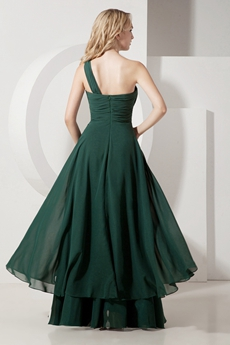 Dark Green Chiffon Long Graduation Dress