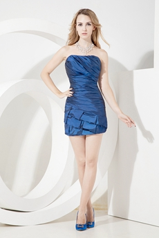 Navy Blue Mini Homecoming Dresses With Pleated Bodice