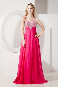 Lovely Spaghetti Straps Fuchsia Chiffon Prom Party Dress
