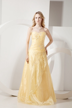 Simple Yellow Organza Quinceanera Dress with Embroidery