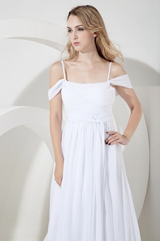 Delicate White Chiffon Off Shoulder Casual Wedding Dresses