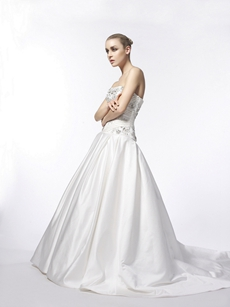 Dropped Waist Wedding Dress With Great Handwork