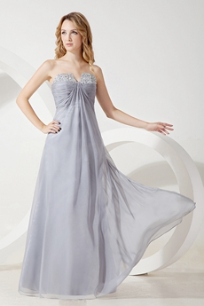 Best Silver Gray Chiffon Prom Gown On Sale