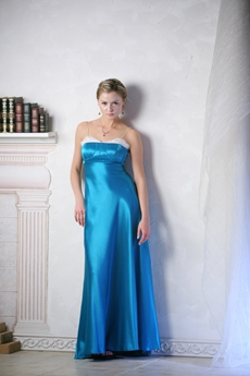 Exclusive Spaghetti Straps Turquoise Bridesmaid Dress