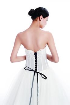 Impressive White Tulle Bridal Dress With Black Sash