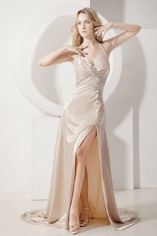 Stylish Champagne Halter Evening Dresses With Slit