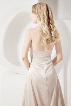 Stylish Champagne Halter Evening Dresses With Slit
