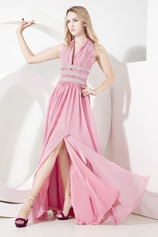 Sexy Open Back Halter Pink Chiffon Evening Dresses