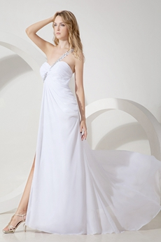 Sexy One Shoulder Beach Wedding Gown
