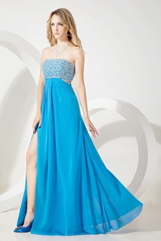 Unique Turquoise Chiffon Strapless Prom Dress